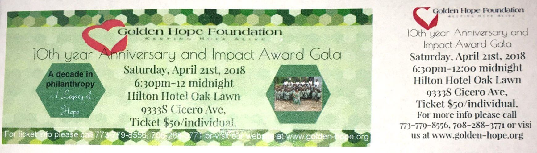 Golden Hope Foundation flyer